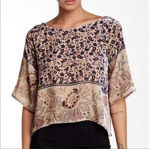 Chaser Folkloric Tapestry Scoop Neck Top